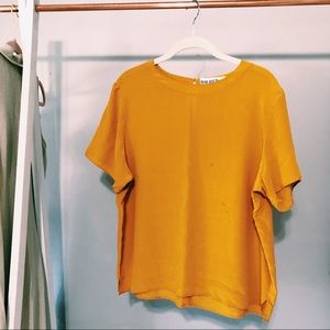 Vintage Anne And Frank Yellow Silk Top